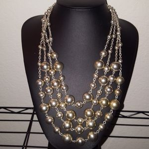 Silver 4 Layered Bead Necklace